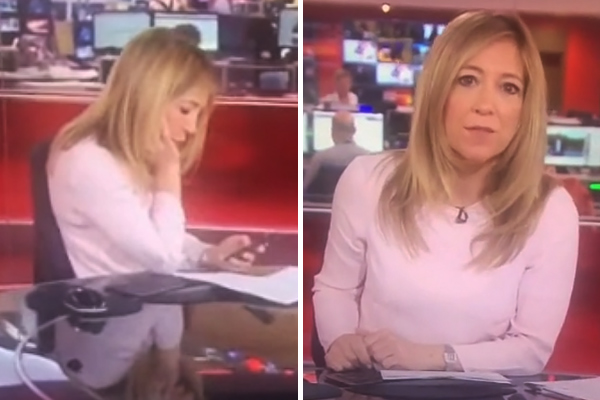 BBC newsreader caught out texting live on air