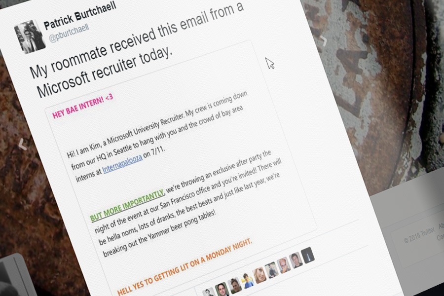 Microsoft recruiter slammed for cringeworthy email